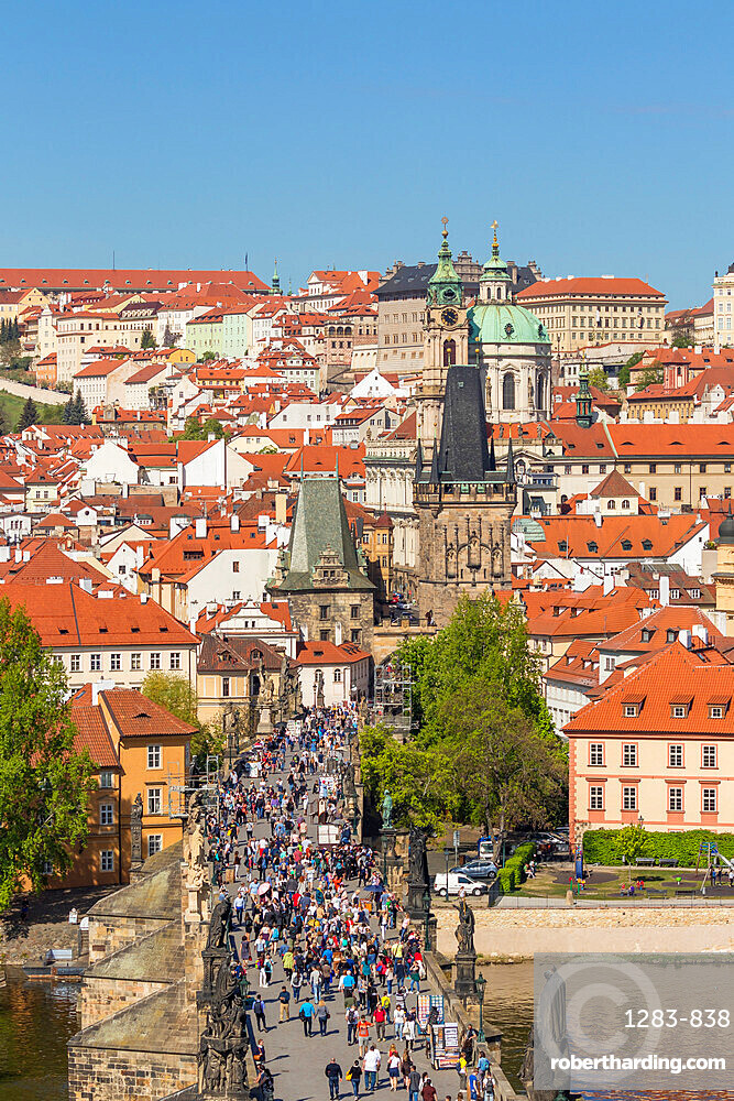 View from the Old Town Bridge Tower over the Charles Bridge and Mala Strana District, Prague, Bohemia, Czech Republic, Europe