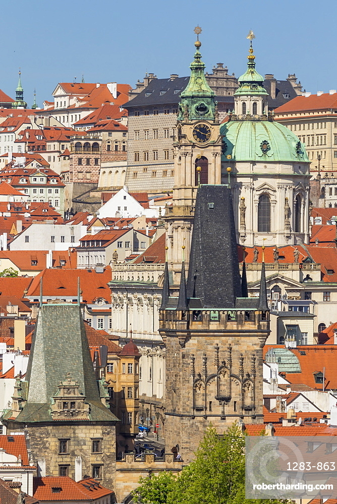 View from the old town bridge tower to the Lesser Town (Mala Strana) district, UNESCO World Heritage Site, Prague, Bohemia, Czech Republic, Europe