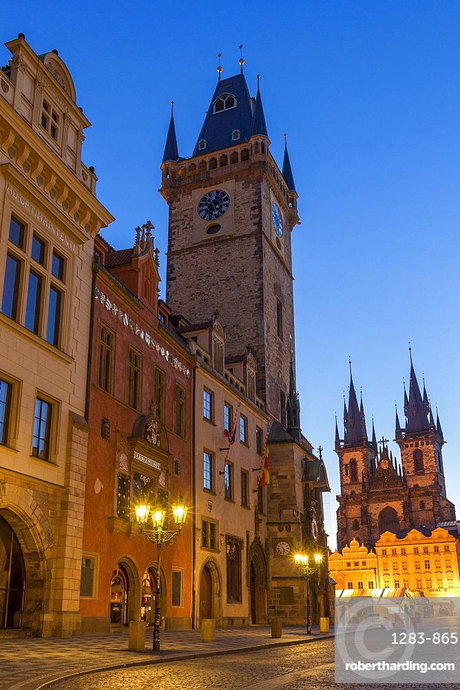 The old town hall and Our Lady before Tyn Church at dawn, UNESCO World Heritage Site, Prague, Bohemia, Czech Republic, Europe