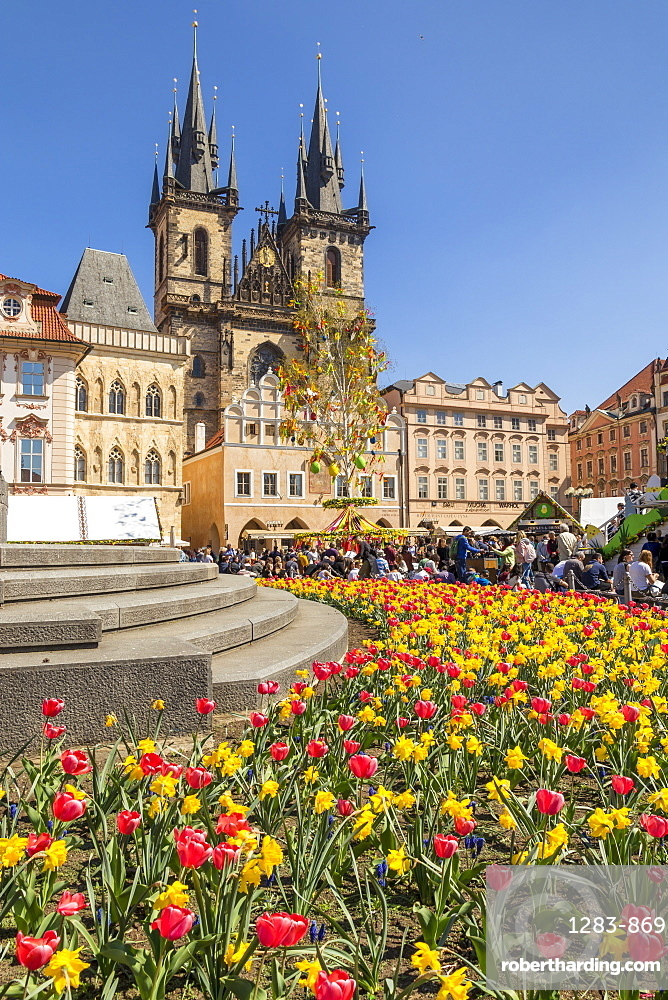 Staromestske namesti (Old Town Square) and Our Lady before Tyn Church in spring, Prague, Bohemia, Czech Republic, Europe