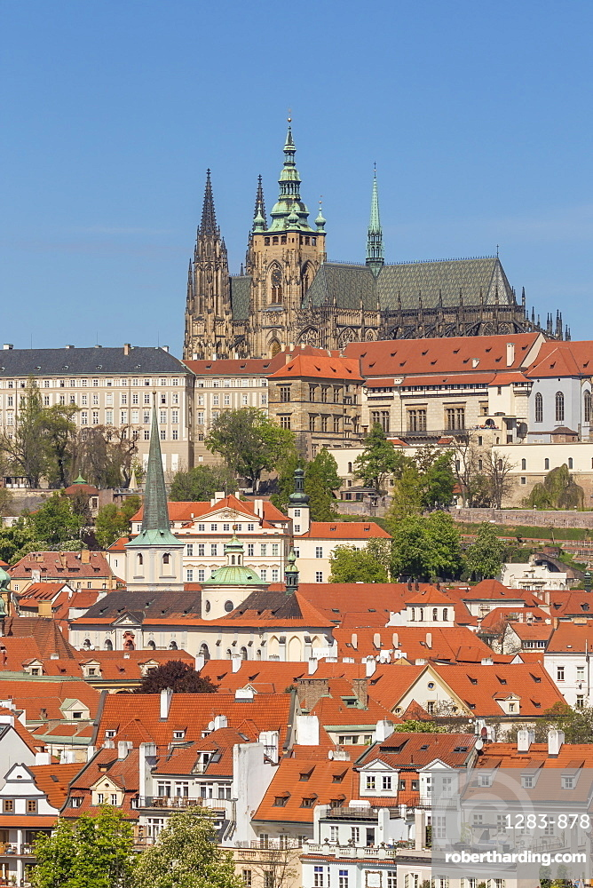 St. Vitus Cathedral, Prague Castle and the Lesser Town seen from the banks of Vltava River, Prague, Bohemia, Czech Republic