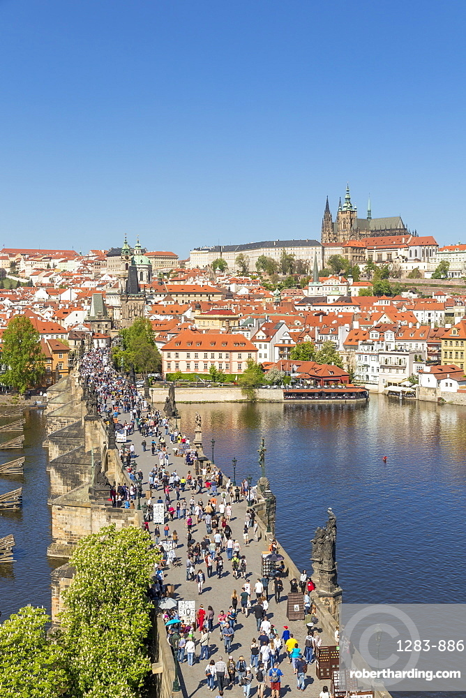 Elevated view from the Old Town Bridge Tower over Prague Castle and the Mala Strana District, Prague, Bohemia, Czech Republic