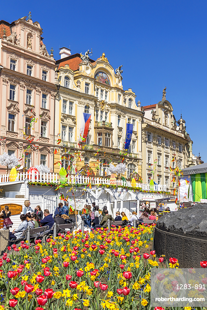 Facades of historical buildings seen from the easter market at the old town market square, Prague, Bohemia, Czech Republic