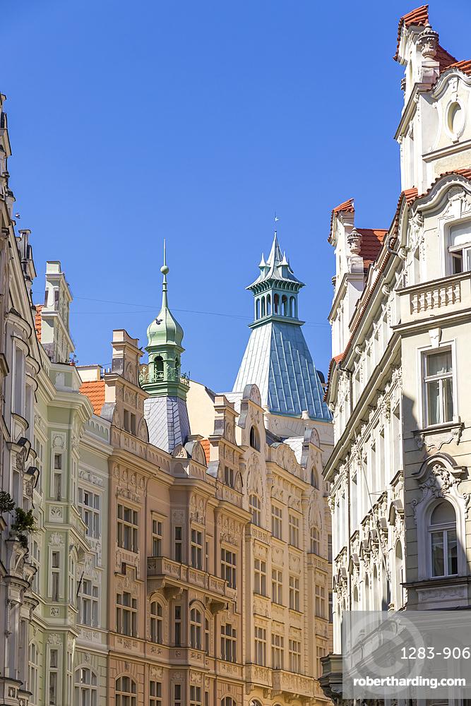 Facades of art nouveau buildings in the Josefov quarter in the old town, Prague, Bohemia, Czech Republic, Europe