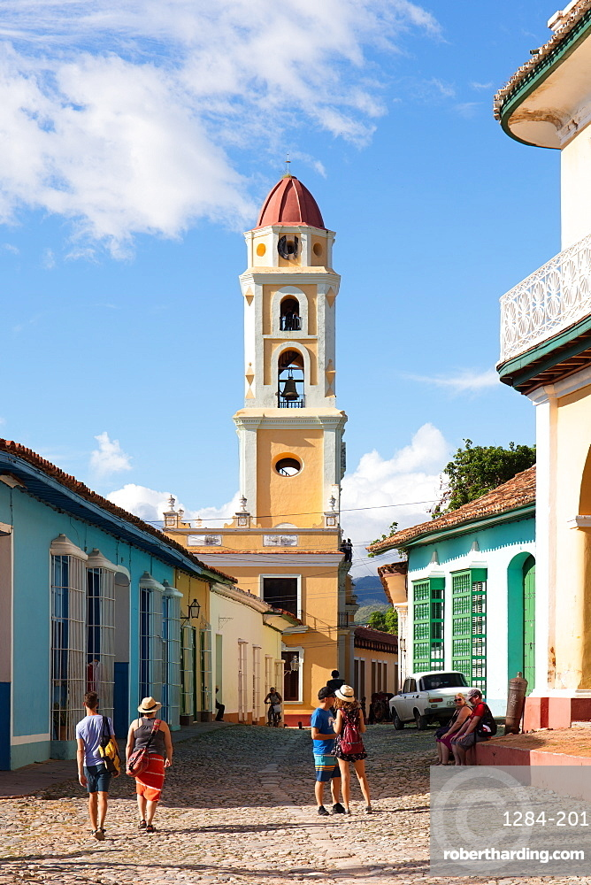 Tourists and bell tower in Trinidad, UNESCO World Heritage Site, Sancti Spiritus, Cuba, West Indies, Caribbean, Central America