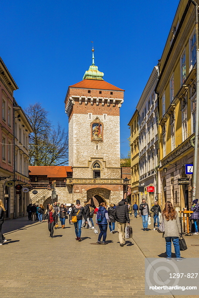 St Florians Gate in the medieval old town, a UNESCO world Heritage site, in Krakow, Poland, Europe.