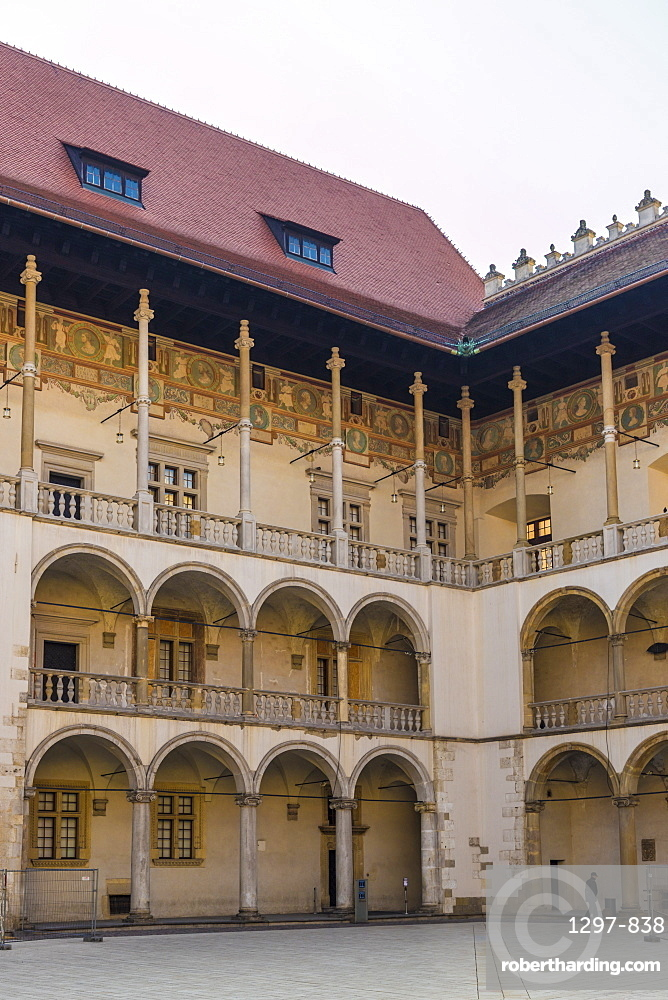 16th century Renaissance courtyard Wawel Royal Castle, a UNESCO World Site, in the medieval old town, in Krakow, Poland, Europe