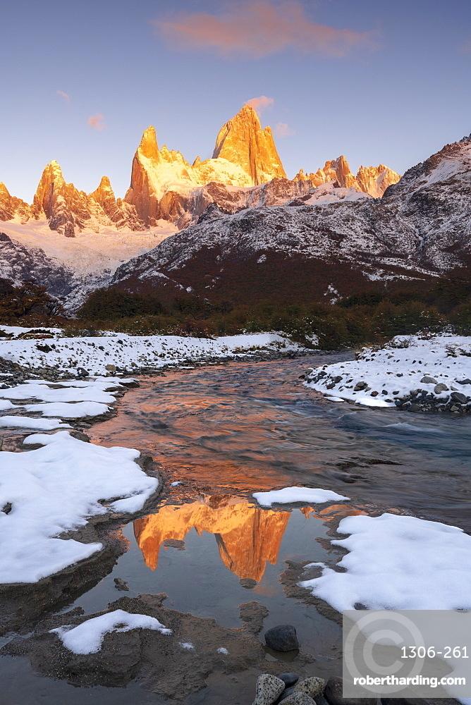 Fitz Roy and Cerro Torre with snow at sunrise reflected, Los Glaciares National Park, El Chaltén, Santa Cruz Province, Patagonia, Argentina, South America