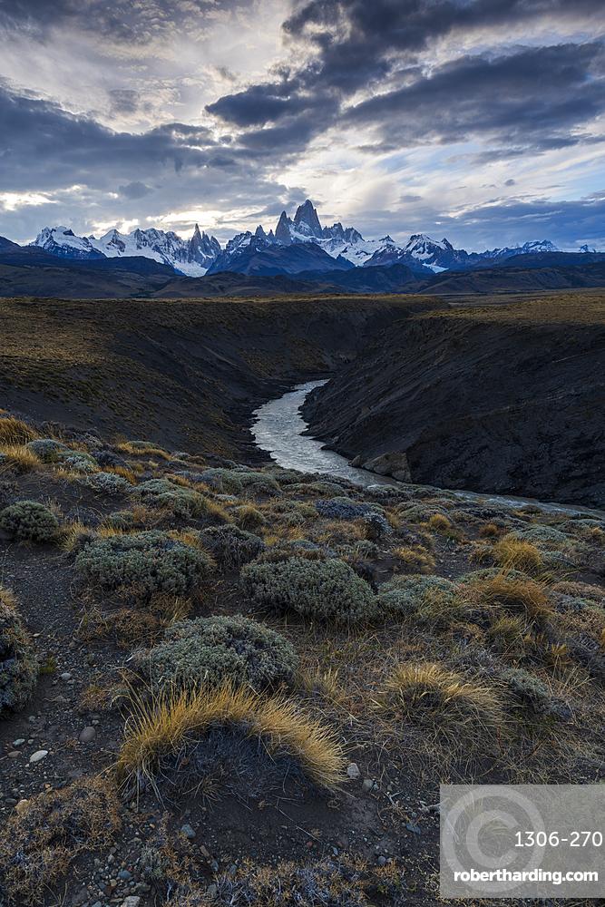 Mount Fitz Roy with Las Vueltas river, a typical Patagonia landscape, Los Glaciares National Park, El Chalten, Argentina