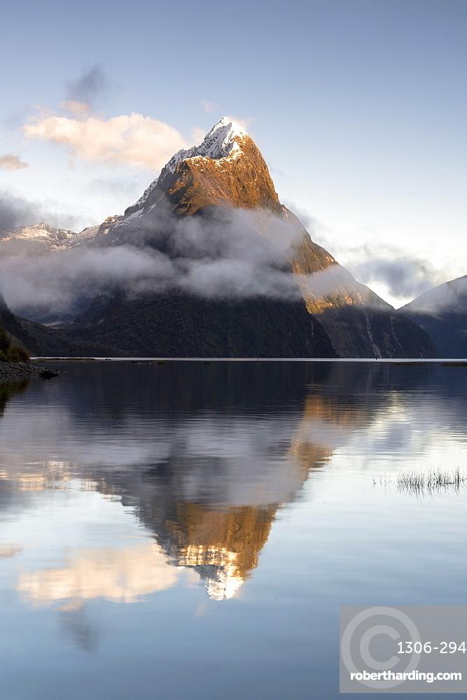 Mitre Peak reflected at Milford Sound, Fiordland National Park, New Zealand
