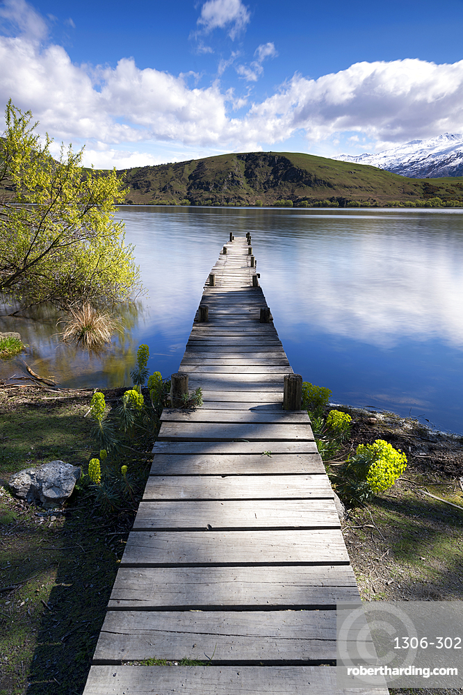 Old wooden jetty at Lake Hayes, Wakatipu Basin in Central Otago, South Island, New Zealand, Pacific