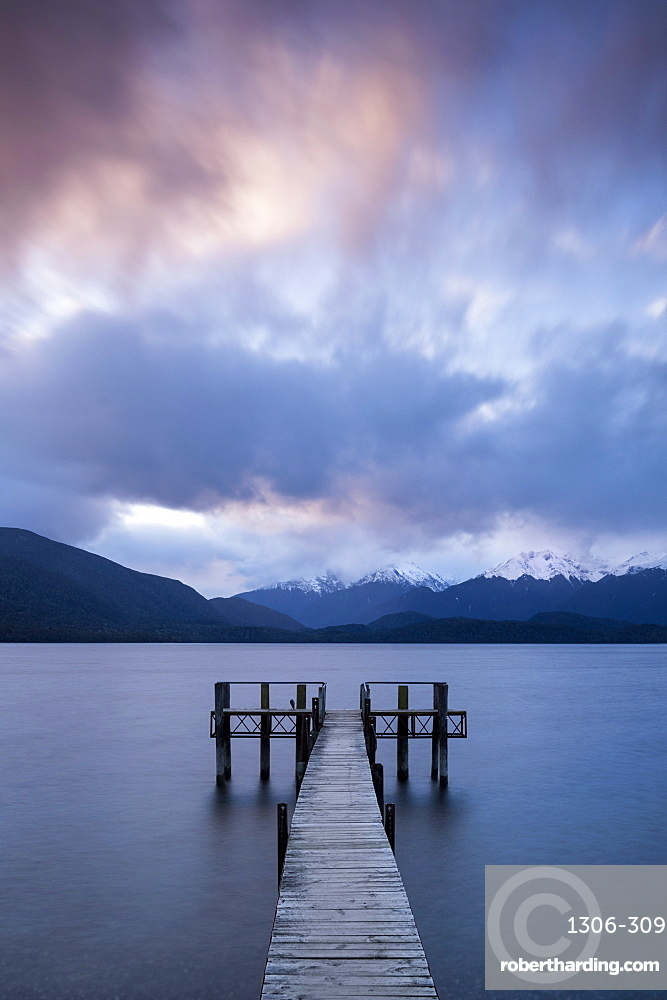 Te Anau jetty with lake and mountain, South Island, New Zealand