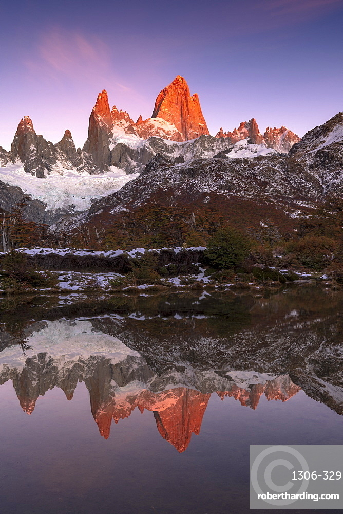 Mountain range of Cerro Torre and Fitz Roy at sunrise reflected, Los Glaciares National Park, El Chaltén, Santa Cruz Province, Patagonia,