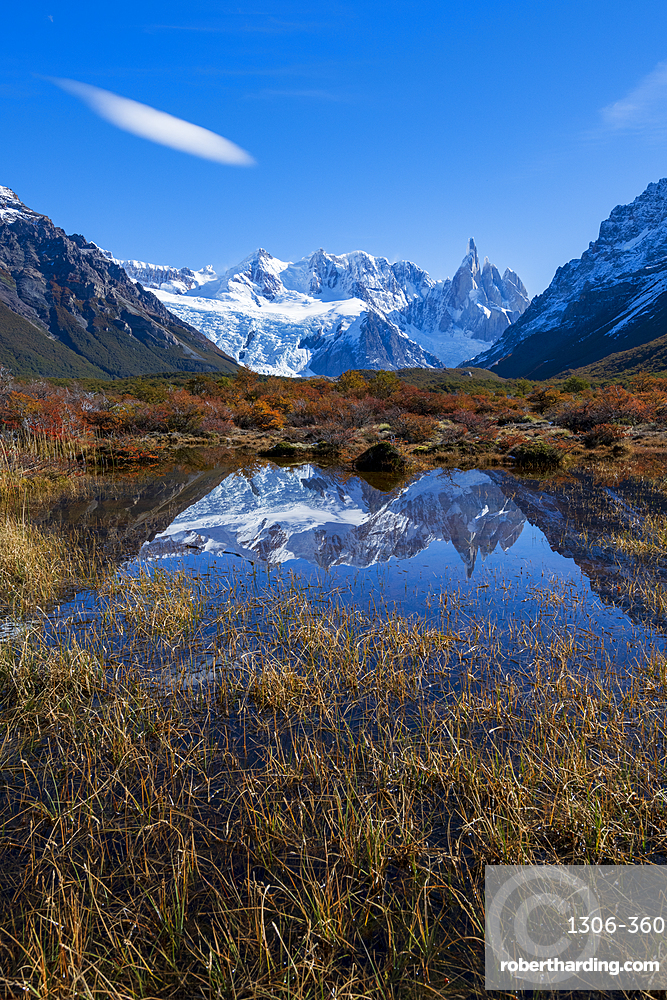 A typical autumnal Patagonian landscape with Mount Fitz Roy, El Chalten, Patagonia, Argentina,