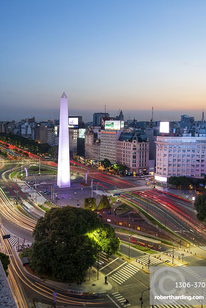 Light trails on 9 de Julio Avenue, Buenos Aires, Argentina, South America