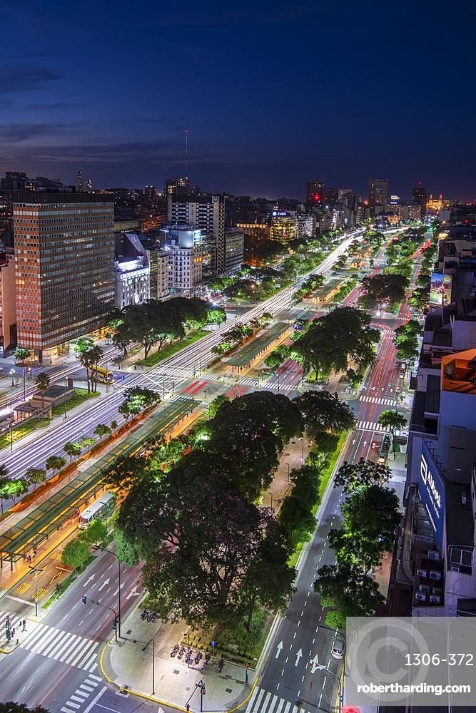Night scene of 9 de Julio Avenue, Buenos Aires, Argentina, South America
