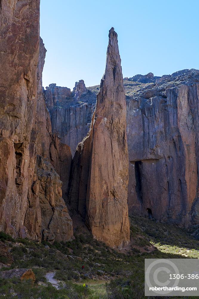 Rock formation in the canyon of Piedra Parada (Gualjaina), Chubut Province, Patagonia, Argentina.