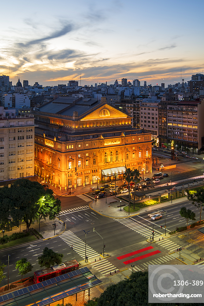 Teatro Colon at sunset on 9 de Julio Avenue at night, Buenos Aires, Argentina, South America