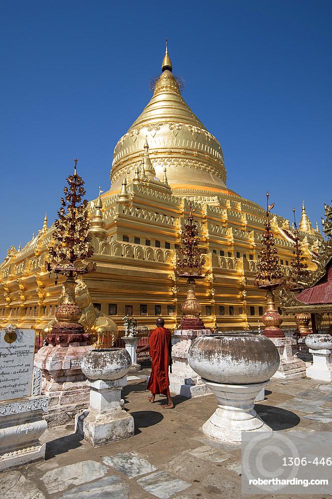 The great Stupa in the Shwezigon Pagoda in Bagan in Myanmar.