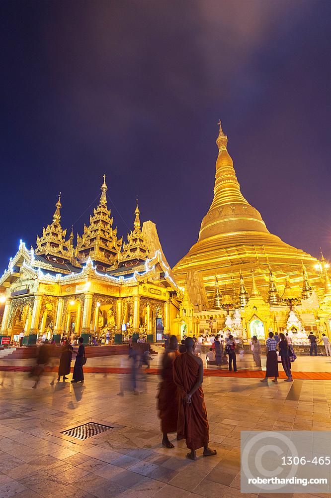 The Shwedagon Pagoda at night, Yangon (Rangoon), Myanmar (Burma), Asia