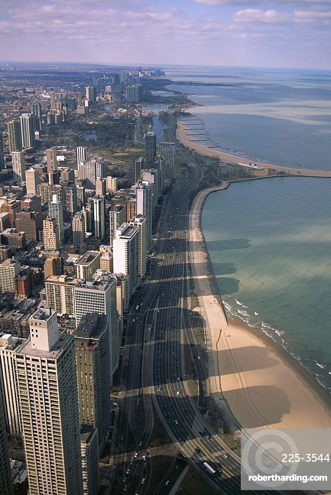 View north along shore of Lake Michigan from John Hancock Center, Chicago, Illinois, United States of America (U.S.A.), North America