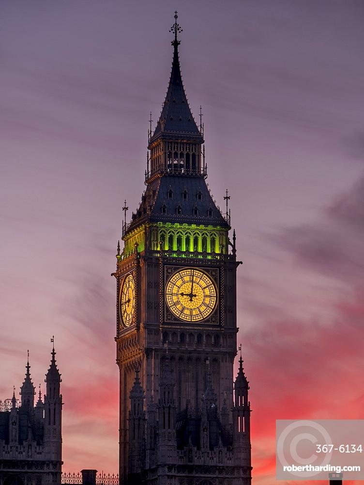 Big Ben at sunset, Westminster, London, England, United Kingdom, Europe