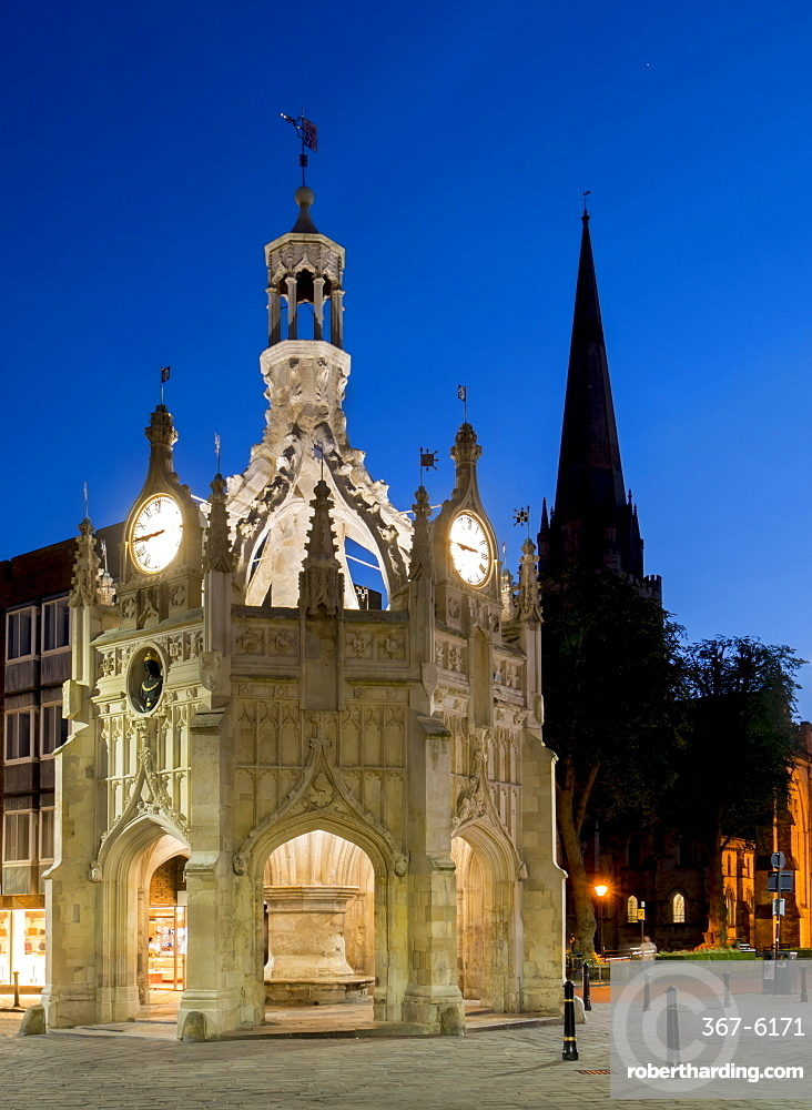 Chichester Market Cross and cathedral dusk