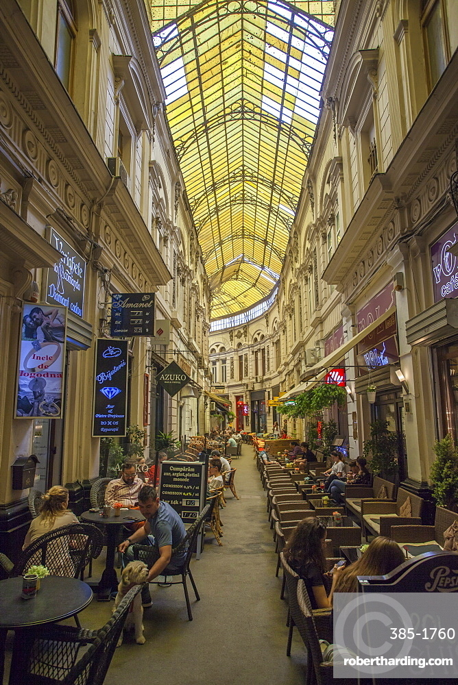 Covered cafe pedestrian street, Old Quarter, Bucharest, Romania, Europe