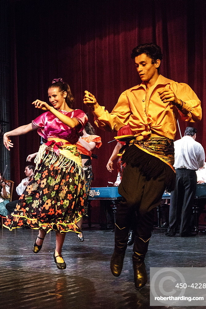 Members of the Hungarian Folk Ensemble and Orchestra performing a Hungarian gypsy folk dance, Budapest, Hungary, Europe