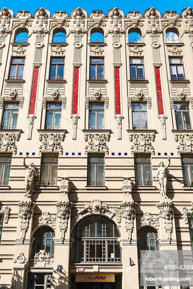 Art nouveau building facade, Alberta Street, Riga, Latvia