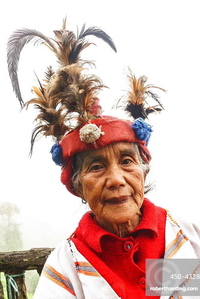 Ifugao woman in traditional dress and hat, Banaue, Luzon Island, Philippines (Model Release)
