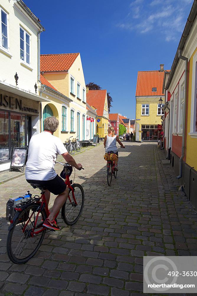 Cycling in Aeroskobing, Aero Island, Funen, Denmark, Europe