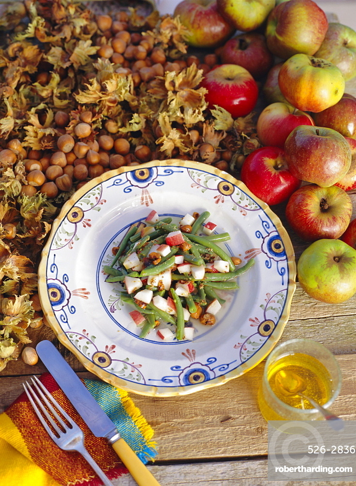 French bean and apple salad with toasted hazelnuts