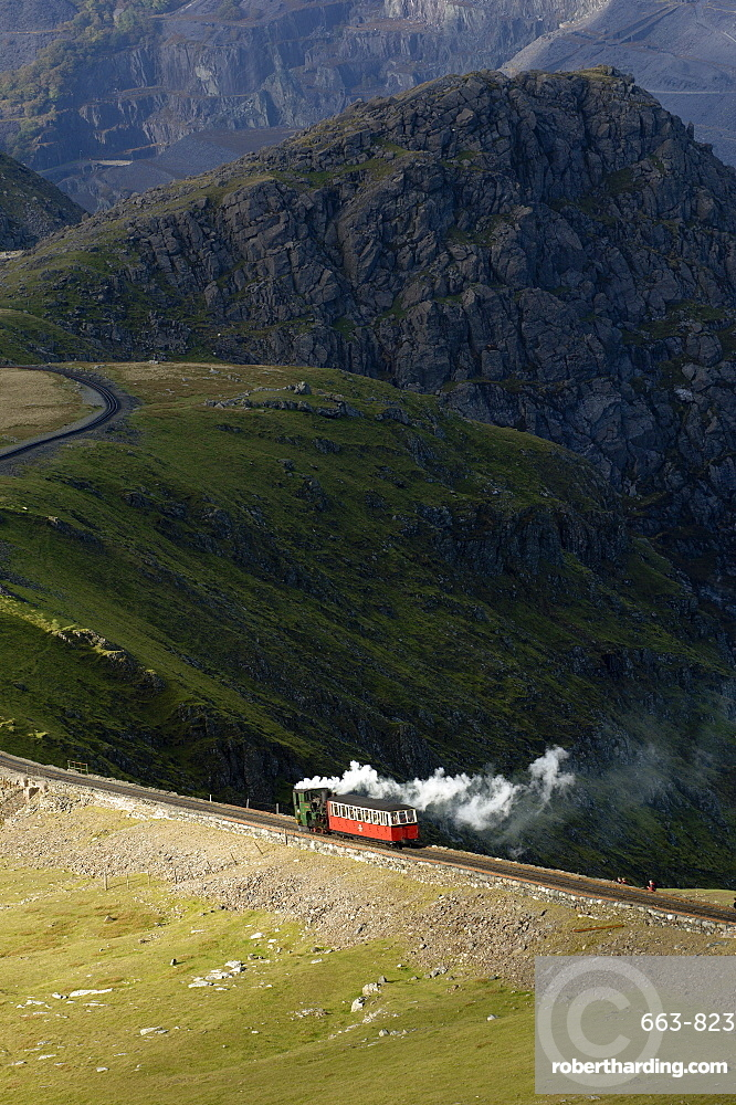 Steam train on route between Llanberis and the summit of Mount Snowdon in Snowdonia National Park, Gwynedd, Wales, United Kingdom, Europe