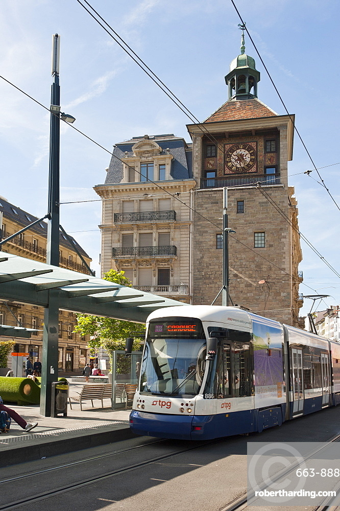 Tram stop, Rue de la Tour-de-l'Ile, Geneva, Switzerland, Europe