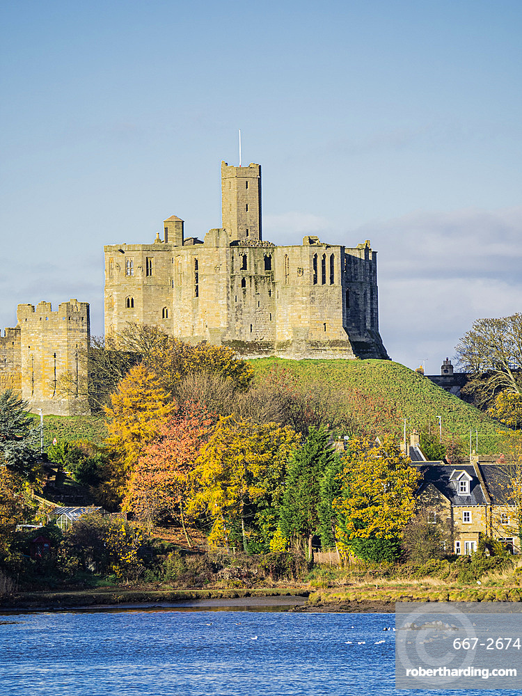 The Castle, River Coquet, Warkworth, Northumberland, England, United Kingdom, Europe