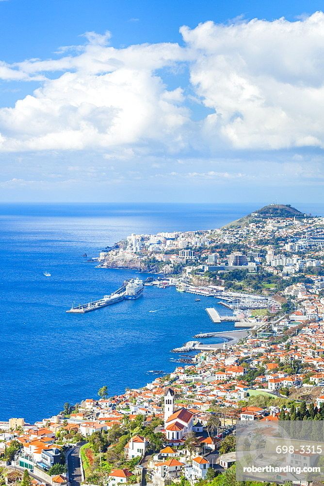 View over Funchal, capital city of Madeira, city, port and harbour, Madeira, Portugal, Atlantic, Europe