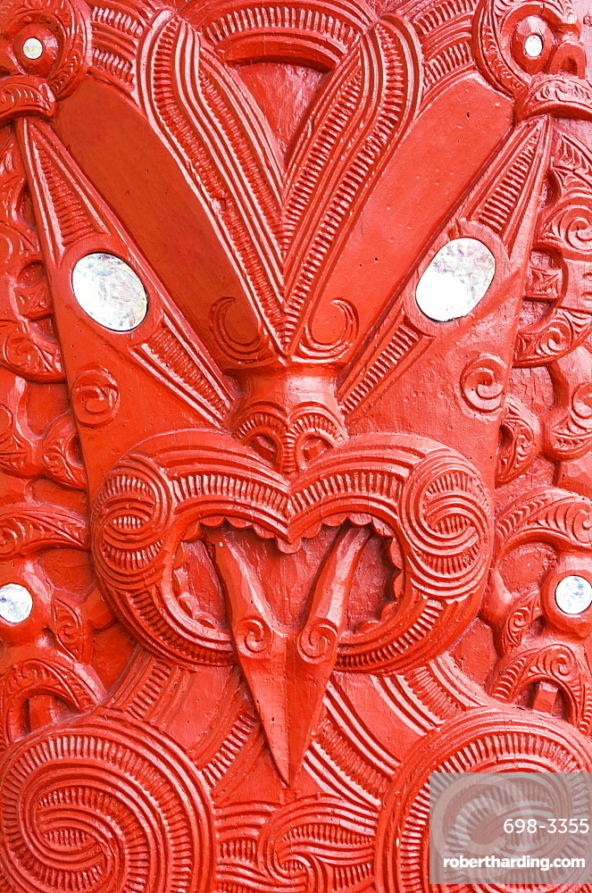 Red Maori carving, Marai meeting house, Whakarewarewa thermal village, Wahiao, Rotorua, North Island, New Zealand, Pacific