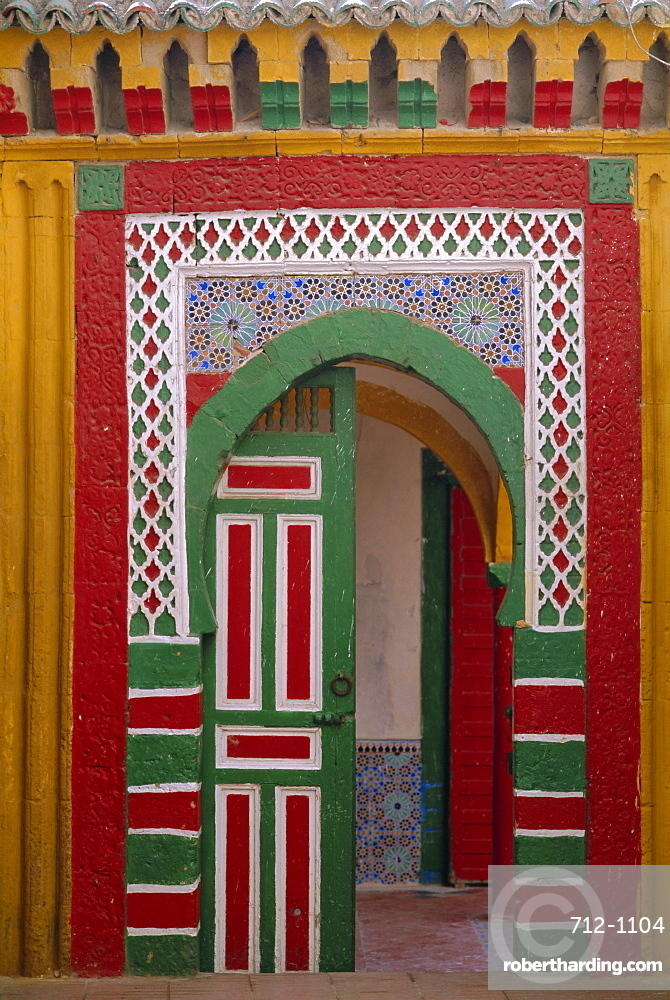 Brightly painted door in the Medina, Essaouira, Morocco