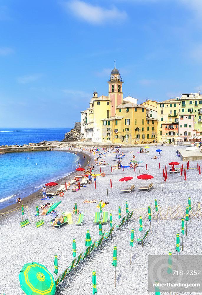 Old church and beach view, Camogli, Riviera di Levante, Liguria, Italy, Europe