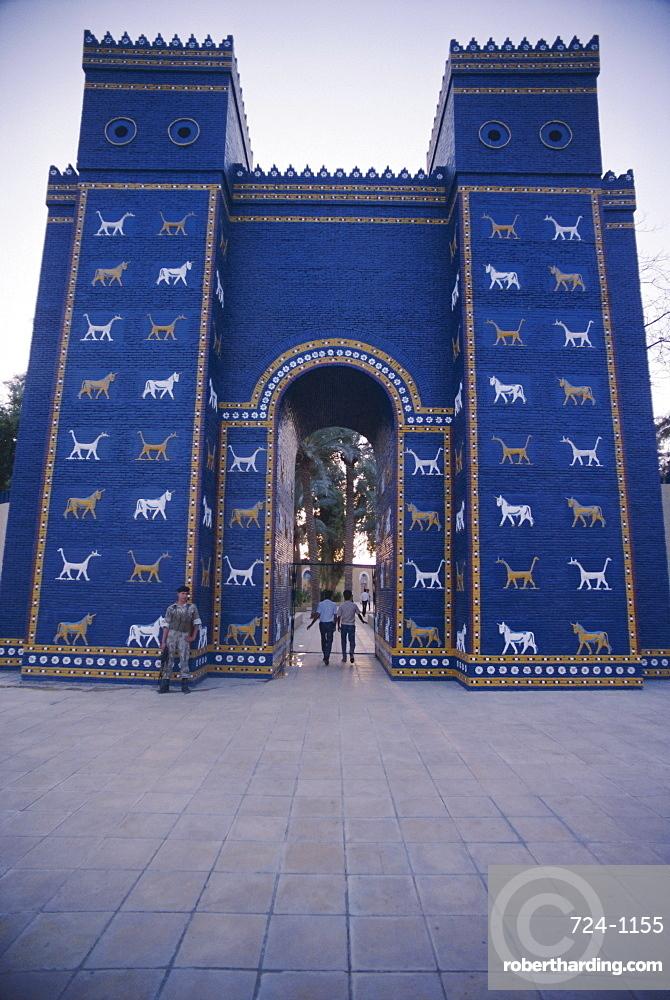 the reconstructed ishtar gate babylon stock photo