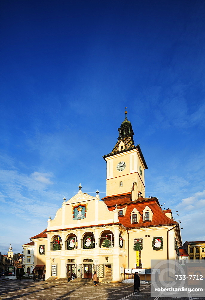 Eastern Europe, Romania, Brasov, History Museum building and clock tower