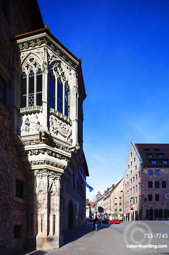 Balcony window, Nuremberg (Nurnberg), Franconia, Bavaria, Germany, Europe