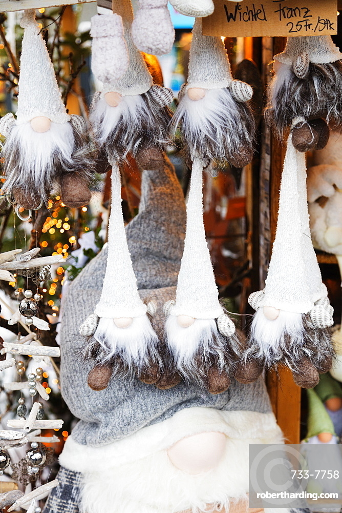 Christmas market decorations, Einsiedeln, Schwyz, Switzerland, Europe