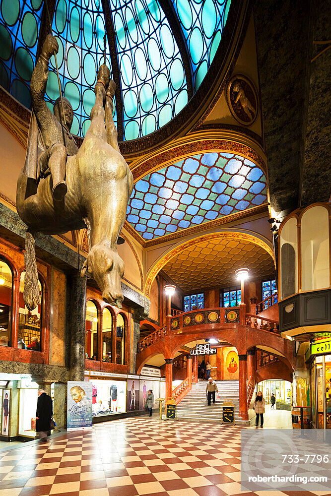 Statue of King Wenceslas riding an Upside-Down Dead Horse inside the Art Nouveau Lucerna Palace, Prague, Czech Republic, Europe