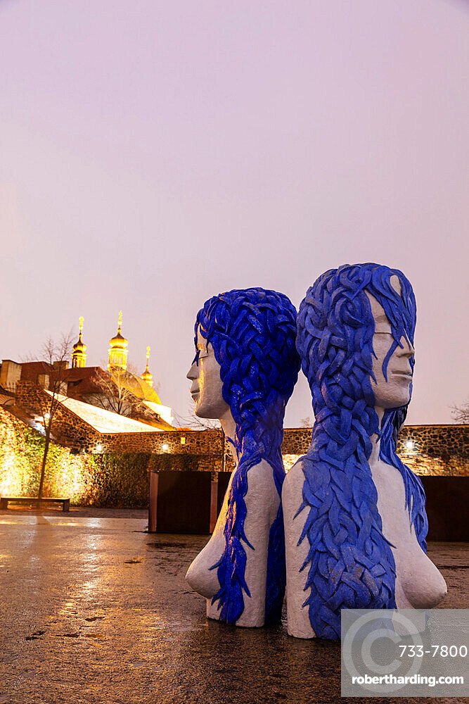 Modern art installations at the Bastion, statue of Three Graces, Prague, Czech Republic, Europe