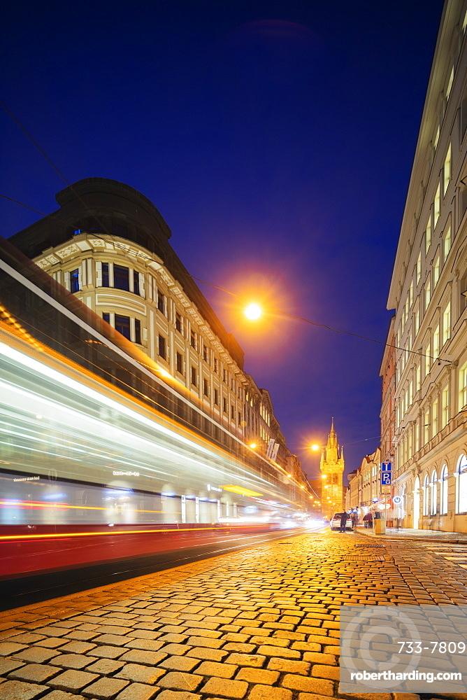 City tram lights heading towards The Powder Tower, Old Town, Prague, Czech Republic, Europe