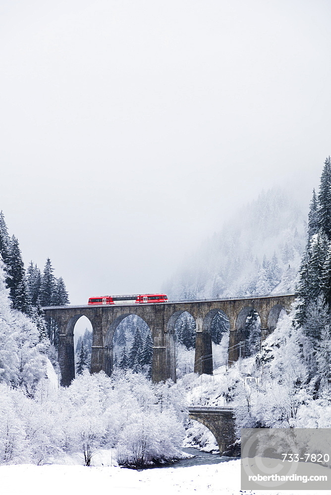 Mont Blanc Express train going over a viaduct, Chamonix, Haute Savoie, Rhone Alpes, France, Europe