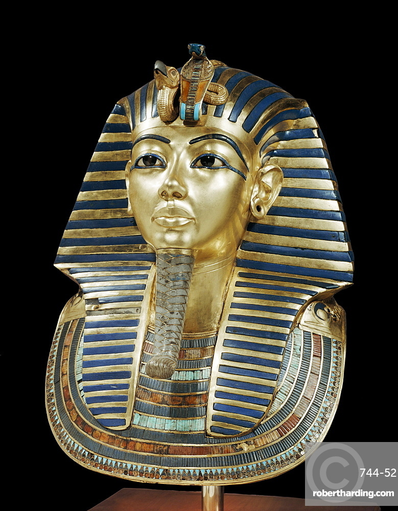 Tutankhamun's funeral mask in solid gold inlaid with semi-precious stones and glass-paste, from the tomb of the pharaoh Tutankhamun, discovered in the Valley of the Kings, Thebes, Egypt, North Africa, Africa