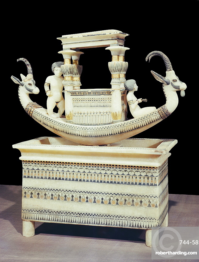 Alabaster boat showing the head of a Syrian ibex and a figure thought to be princess Mutnedjmet on the prow, from the tomb of the pharaoh Tutankhamun, discovered in the Valley of the Kings, Thebes, Egypt, North Africa, Africa